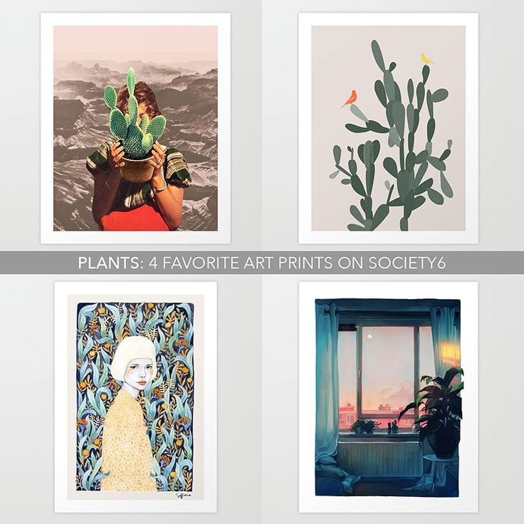 Sharing four of my favorite plant related prints on society6 featuring art by Beth Hoeckel, Loish, Swen Swensøn and Sofia Bonati.