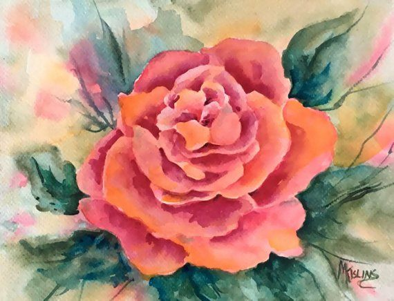 Rose Watercolor Red Peach By Martha Kisling Art With Heart En