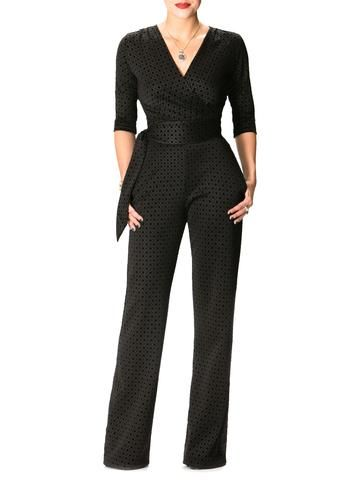 """Naomi"" Black Diamond Print Jumpsuit"