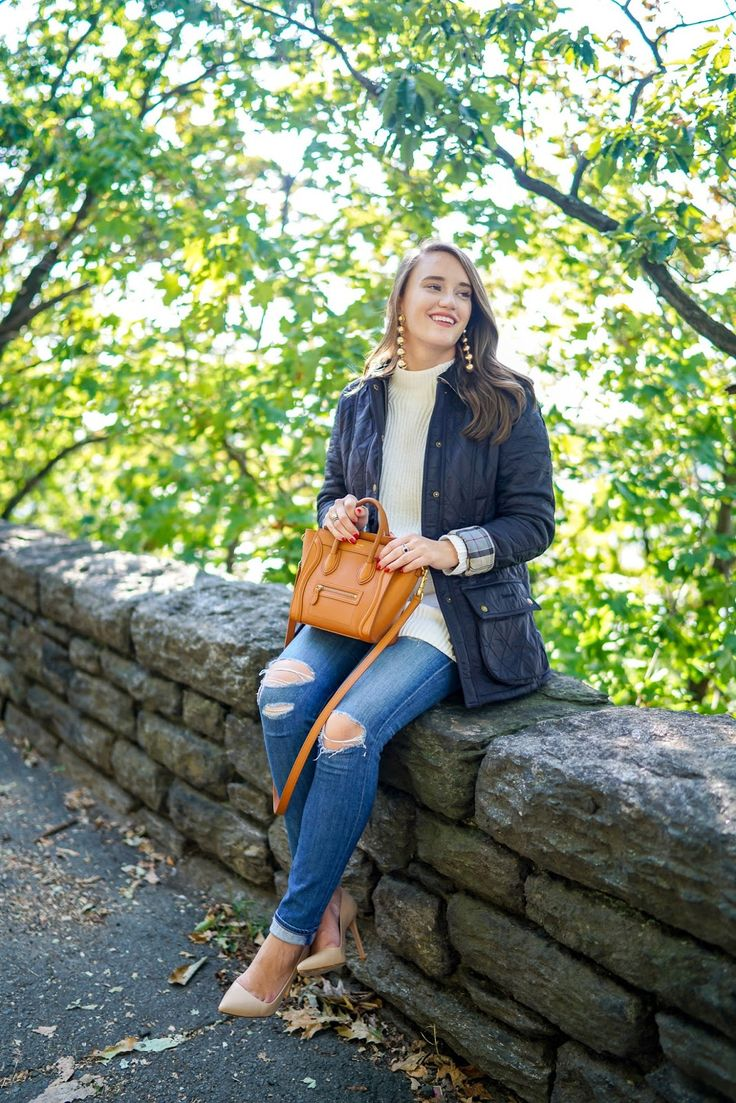 Chaus Two-Pocket Sweater, Barbour Jackets, Nude Heels, Fall Looks, Central Park, NYC, NYC Blogger, Fashion Blog, Style, Covering the Bases, Krista Robertson