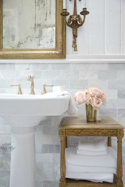 FRENCH COUNTRY COTTAGE: Details~ Planking the walls - bathroom - pedestal sink - gold table