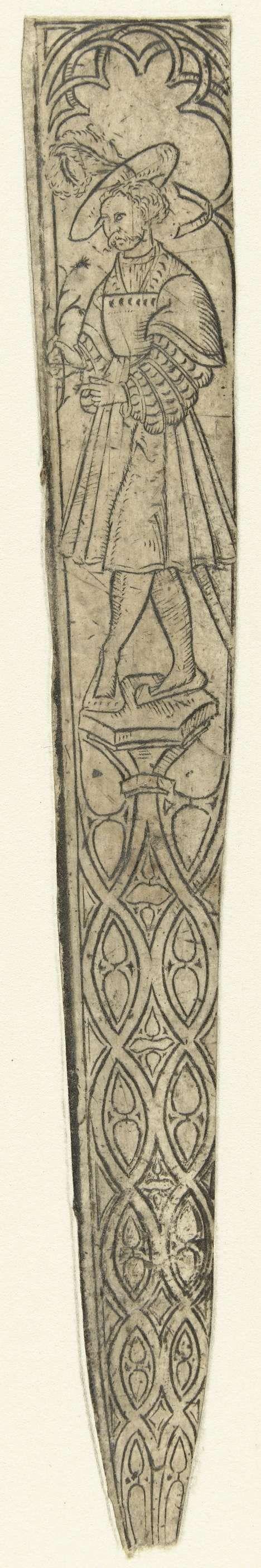 Anonymous | Schede met bovenaan een man, Anonymous, c. 1500 - c. 1600 | Bovenaan staat een man met een hoed op en een bloem in zijn hand onder een gotisch boogje. Het onderste gedeelte is gedecoreerd met geometrische motieven.