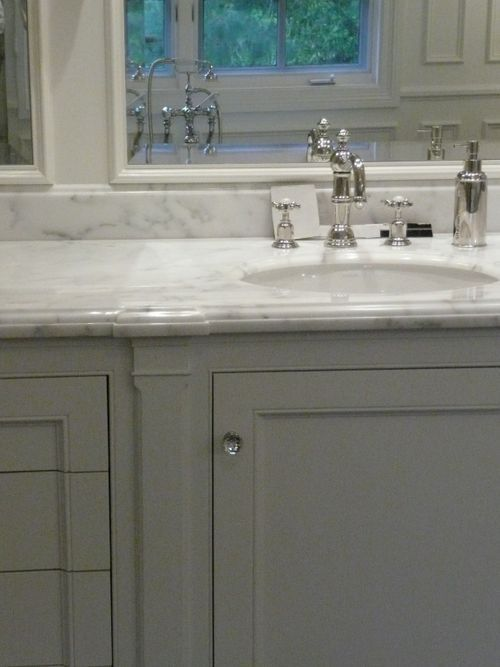 Dove gray cabinets, marble counters and crystal knobs.: Bathroom Remodels, Bathroom Redo S, Marble Top, Bathroom Colors, Bathroom Inspiration, Bathroom Ideas, Bathroom Spa, Bathroom Reno, Master Bathroom