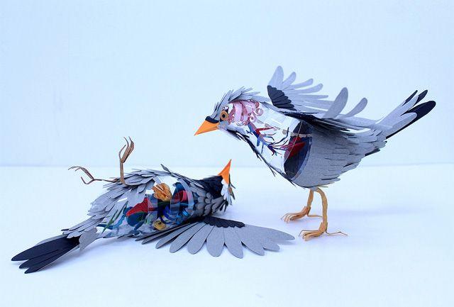 Paper Bird Anatomy: Paper Art, Paper Birds, Paperart, Paper Sculptures, Diana Beltran, Beltrán Herrera