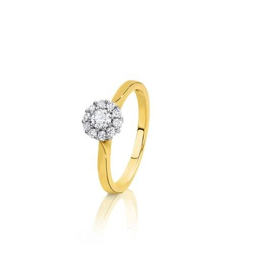 Proposing this year. Make her sparkle with this 18ct Yellow Gold Halo Cluster Ring. 0.40ct TDW