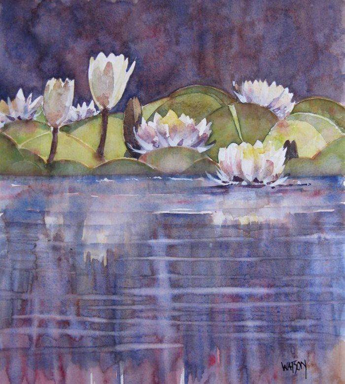 Water lilies by Walter S Watson: Watercolour Floral, Flower Art Flowing, Flowers Pictures, Watercolor Beautiful, Beautiful Backgrounds, Water Lilies