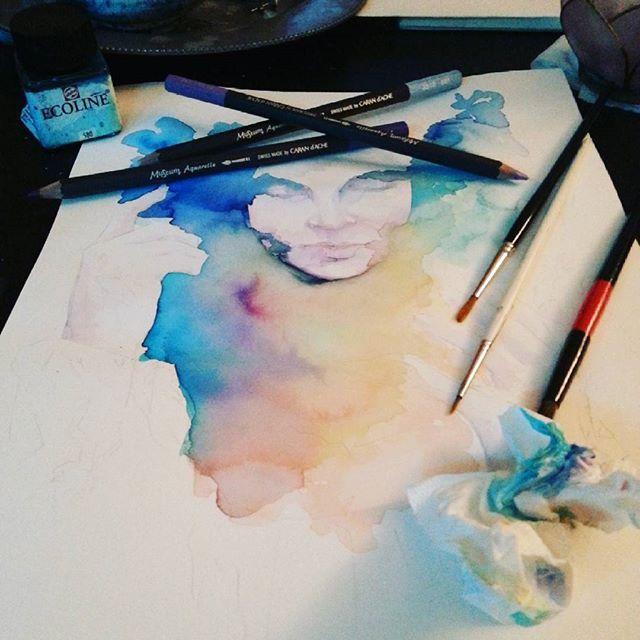Back in the game :) #watercolor #galaxaradk #galaxara #creative #studio #atelier #artist #artstudio #artinprogress