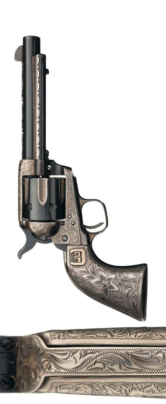 Exceptional First Generation Ed Bohlin Engraved and Embellished Colt Single Action Revolver with Deluxe Silver Grip, ca. 1931 U.S.A.