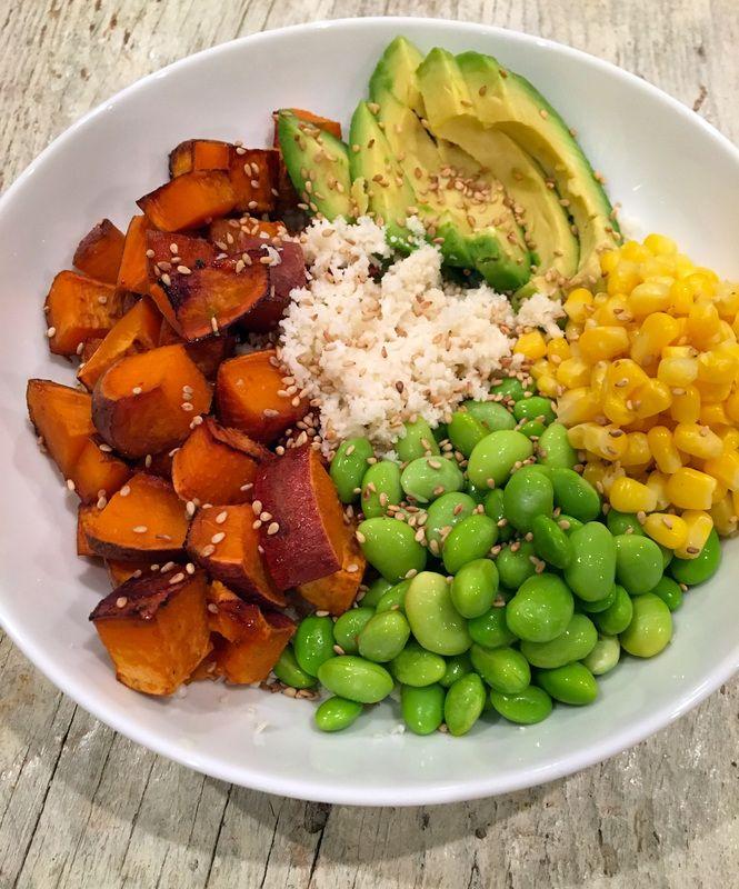 "teriyaki cauliflower ""rice"" bowl vegan / edamame / sweet potato / cauliflower / …"