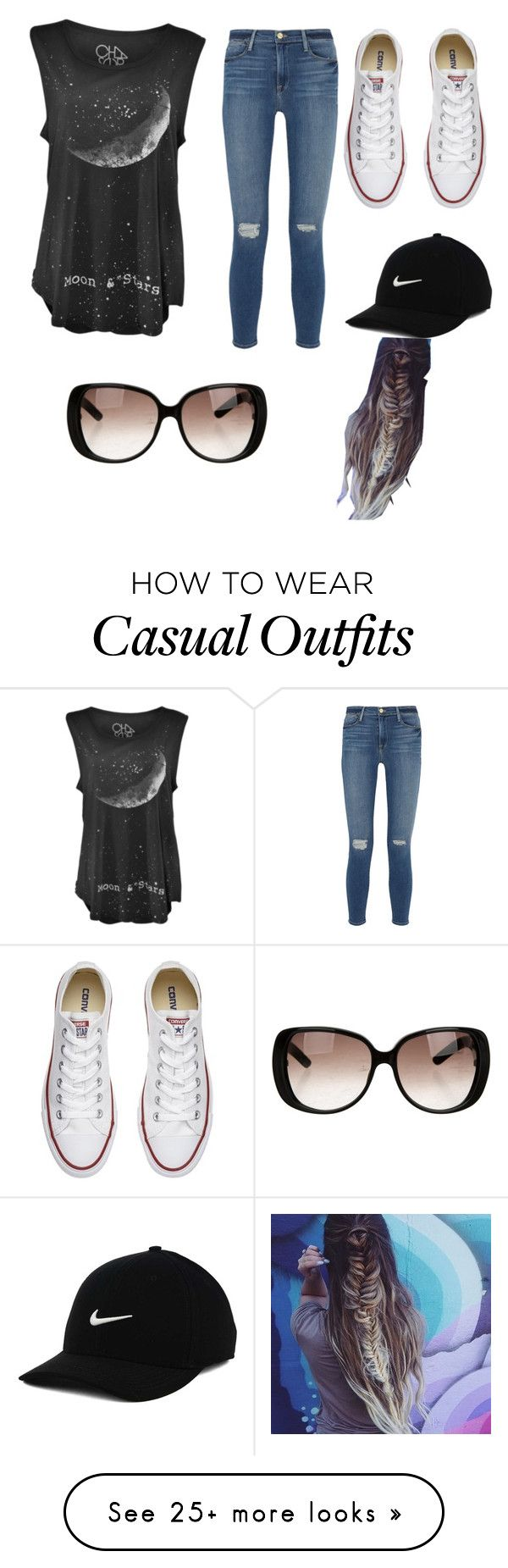 """Casual stuff"" by mollymahina on Polyvore featuring Frame Denim, Converse, Gucci and NIKE"