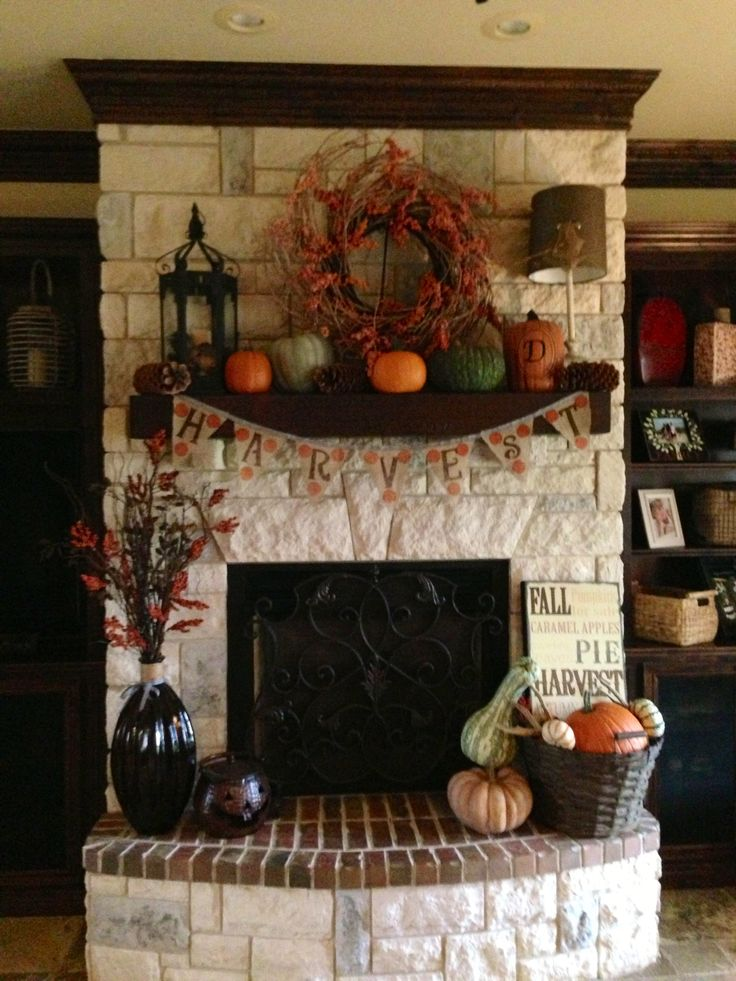 Updated fall fireplace decor