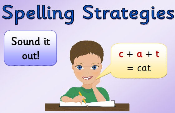 Seven colourful posters showing different spelling strategies, complete with visual prompts.