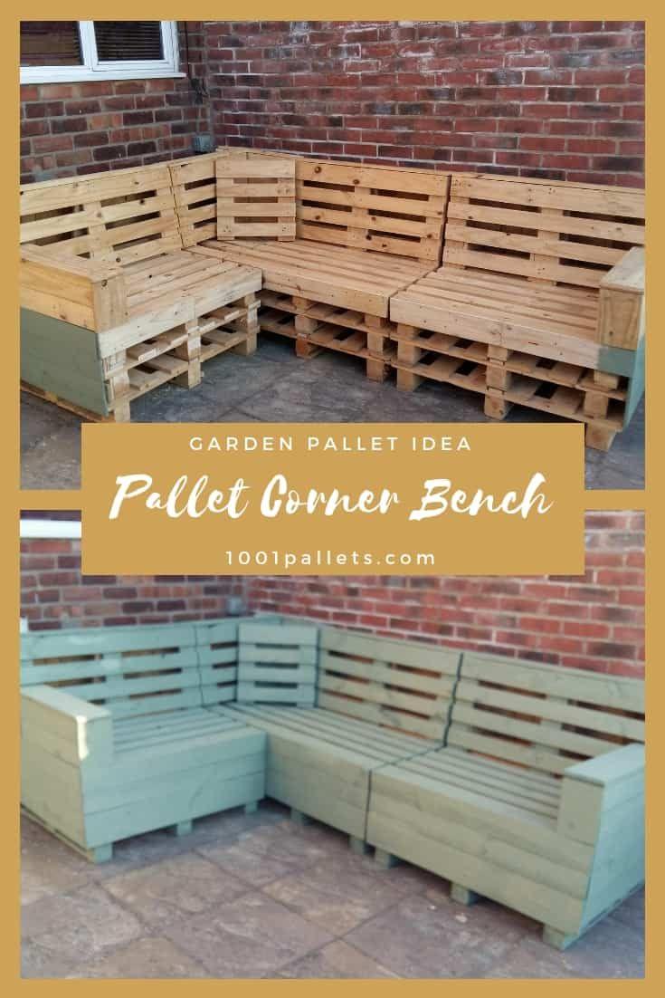 Garden Pallet Corner Bench 1001 Pallets In 2020 Pallets Garden Pallet Bench Outdoor Corner Bench