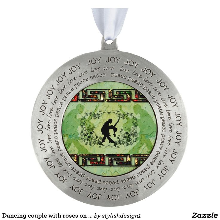 Dancing couple with roses on green background ornament  by stylishdesign1 | #S6GTP ~ Created by one of my friends at #Zazzle ~