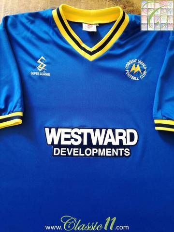 Official Super League Torquay United third football shirt from the 1997/98 seasons.