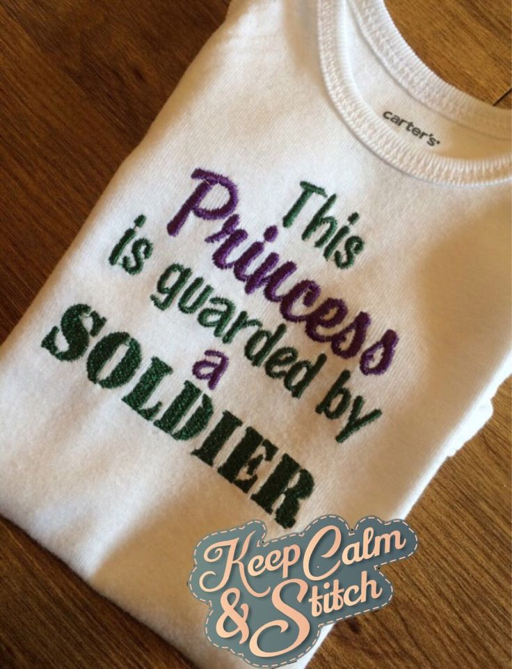 A personal favorite from my Etsy shop https://www.etsy.com/listing/206453865/army-onesie-princess-guarded-by-soldier