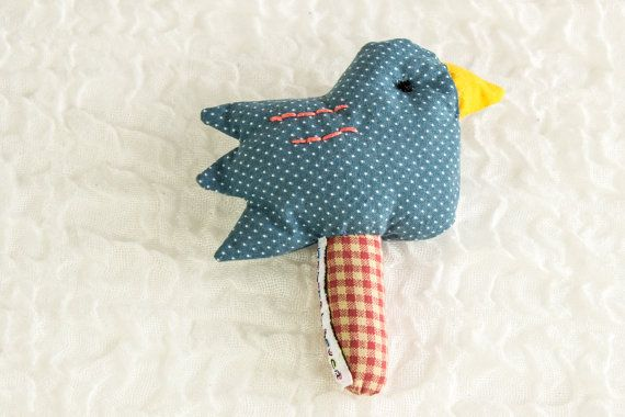 Baby Bird Rattle, Soft Toy, Baby Toy, Blue,Red,Yellow,,Polkadot, Cotton