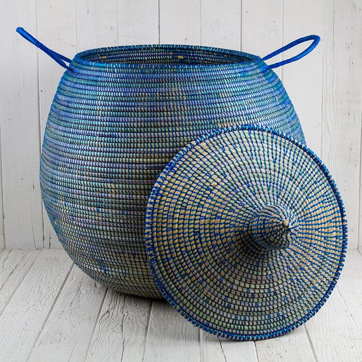 Blue African Basket Bell Jar With Lid Medium 24 5 H Home