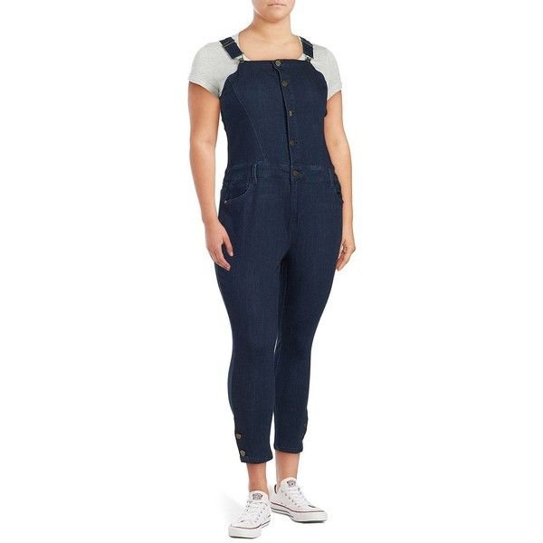 Rachel Rachel Roy Plus Denim Cropped Overalls ($77) ❤ liked on Polyvore featuring jumpsuits, blue, overalls jumpsuit, blue overalls, denim jumpsuit, denim overalls and blue jumpsuit
