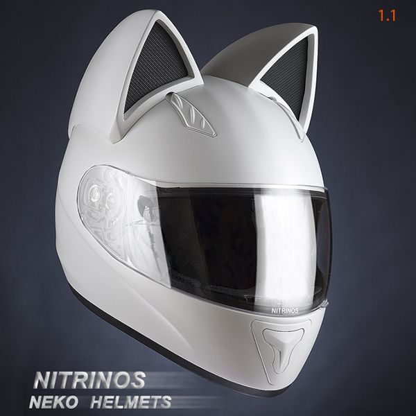 This is an extraordinary motorcycle helmet from Nitrinos motostudio. The first sample of Neko-helmet was produced with a view to Nitrinos participation in a festival of Japanese culture in 2011. After the festival, the helmet became available for orders.