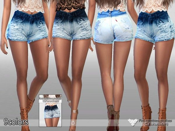 The Sims Resource: Realistic Ombre Denim Shorts by Pinkzombiecupcake • Sims 4 Downloads