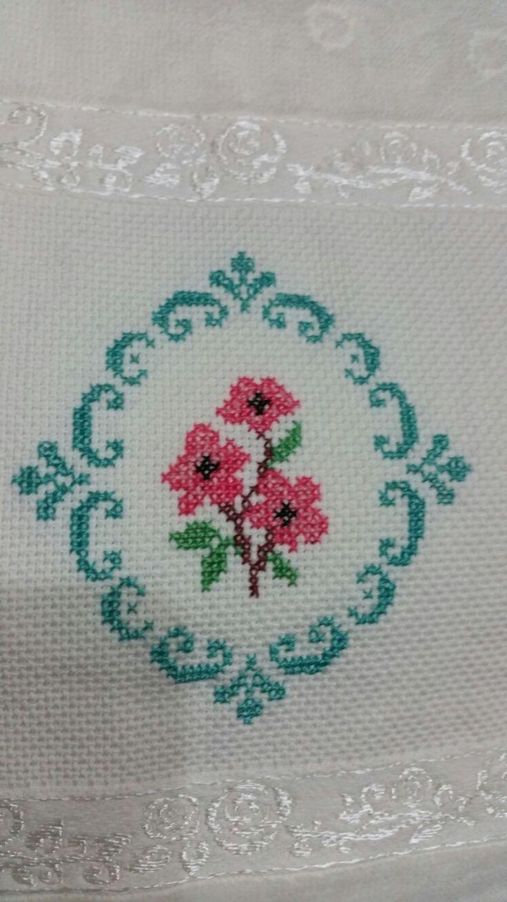 crossstitch, kanaviçe, etamin, havlu, towel, çarpıişi, çiçek, gül