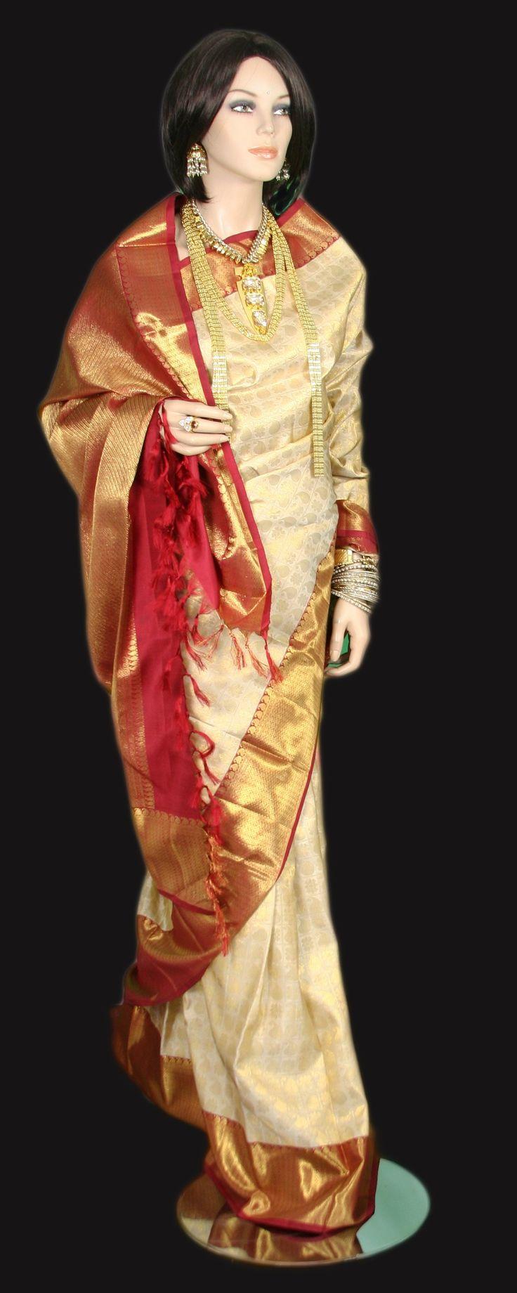 Rich Cream Color Traditional zari gold Kanjeevaram Saree