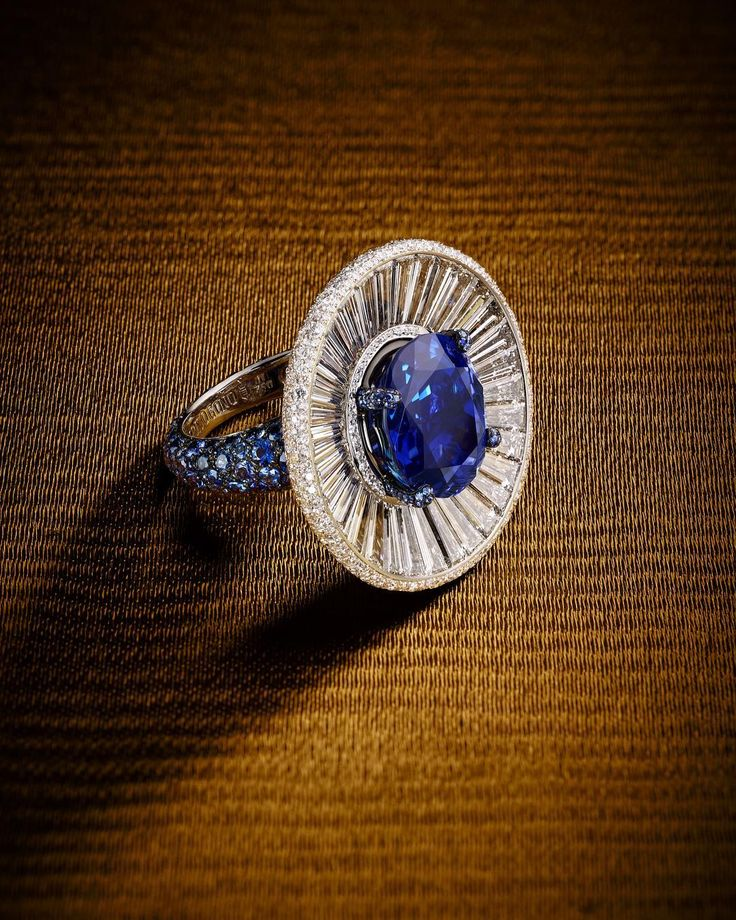 13.17cts oval cut unheated Sri Lankan sapphire and diamond ring by de GRISOGONO OFFICIAL (@degrisogono)