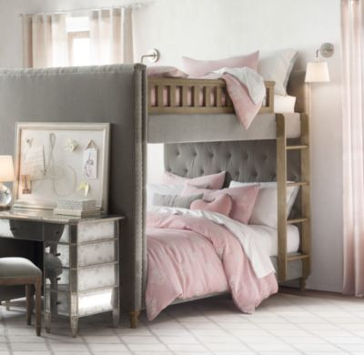 Chesterfield Upholstered Full Over Full Bunk Bed | Dream Home