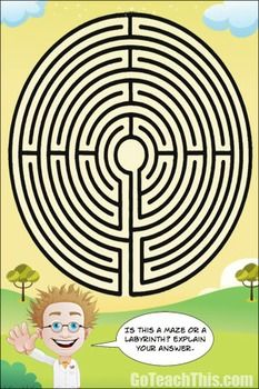 Maze or Labyrinth?  I love to put mazes and labyrinths up on my classroom walls and windows for the students to explore.I've added the question 'What is the difference between a maze and a labyrinth?' onto the poster to encourage clarification of the concepts.EnjoyBe sure to rate this product and provide feedback to earn TpT credits towards the purchase of future products!Let Me Send FREE Game Samples to Your Inbox to Trial ---> Send Me FREE Games  Check out the other resources in my…