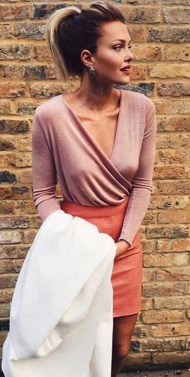 #streetstyle #fashion |Blush Pink Wrap Top + Orange Leather Skirt |Caroline Receveur