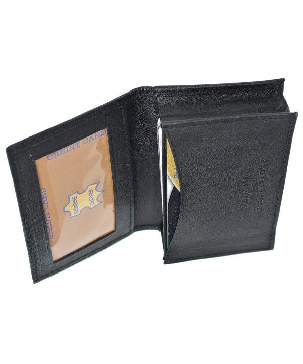 Brown Mens leather ID credit business Card Thin Wallet Expandable Case Holder