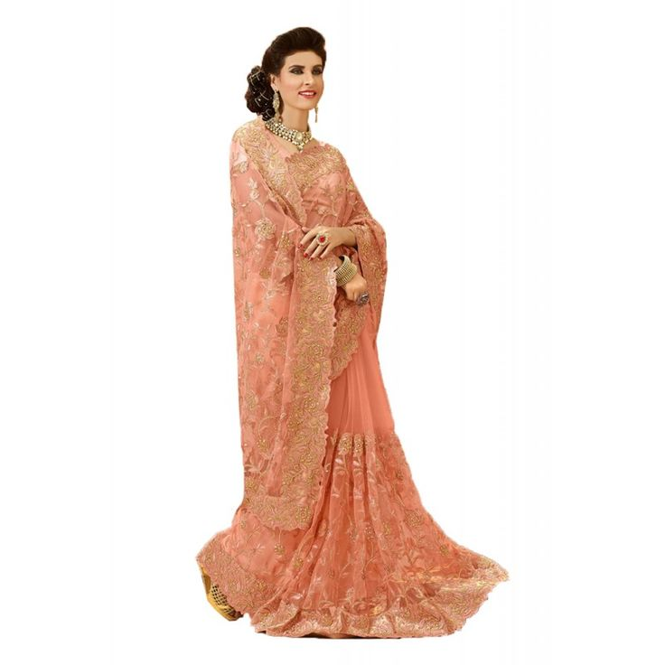 Women elegance is magnified tenfold in this type of a alluring Peach Puff Net Saree. The ethnic Resham & Crystals Stones work at the clothing adds a sign of attractiveness statement with your look.
