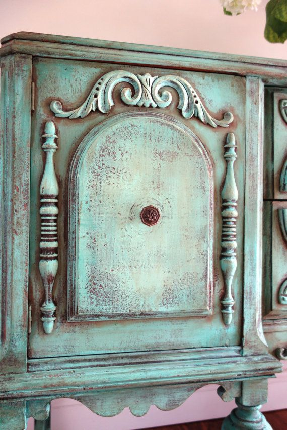 RESERVED For AHN In California   Antique Jacobean Hand Painted French  Country Romantic Vintage Weathered Turquoise Blue Green Buffet