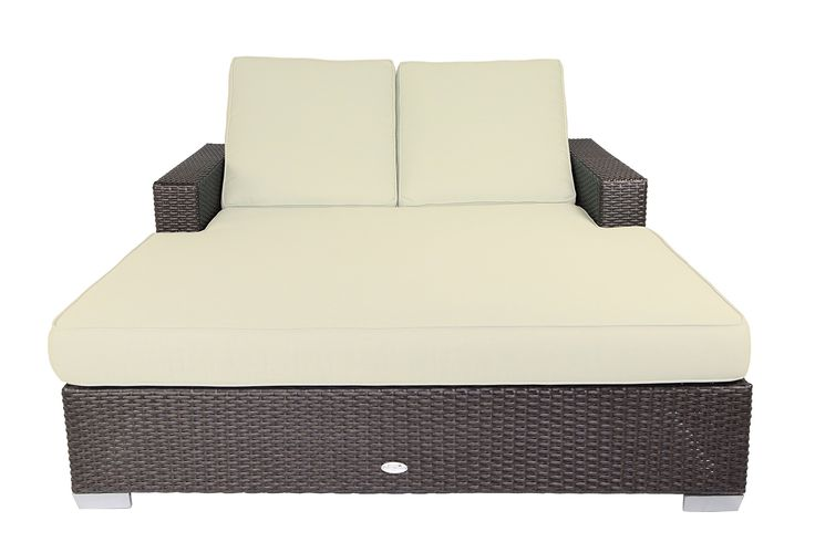 Patio Heaven SB-C2-5453 Signature Double Chaise Lounge with Cushion in Canvas Fabric, Canvas. Sturdy powder-coated aluminum frame. Non-toxic 100% recyclable material. All-weather and UV resistant polyethylene wicker. Includes premium UV resistant Sunbrella outdoor cushions manufactured in the USA.