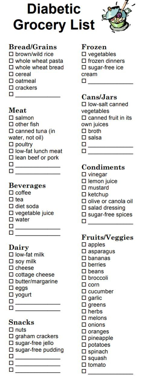 This two-column, smart grocery list includes items to look for when shopping for