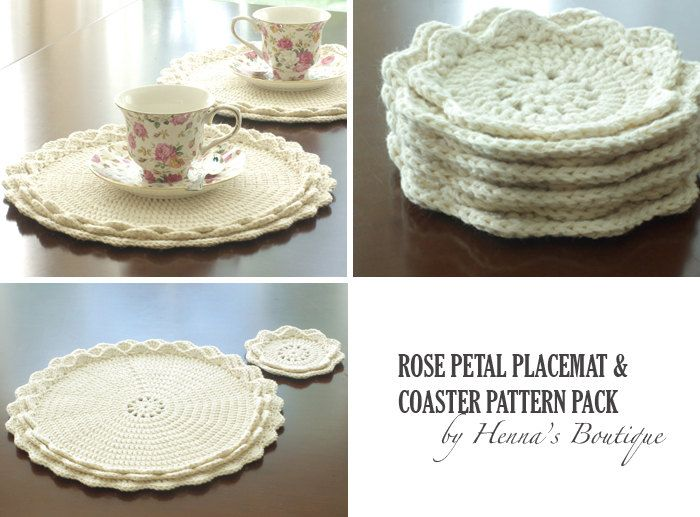 Crochet Pattern Pack Rose Petal Placemats and by hennasboutique