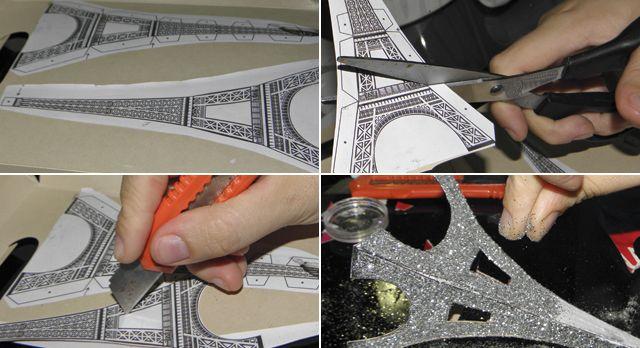 cómo adornar a la mesa de los invitados a la boda torre Eifeel con brillo