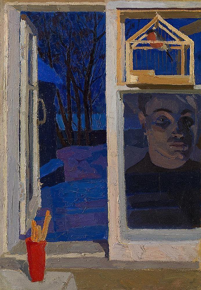 VIKTOR POPKOV, 1932-1974.  Reflection by the Window c. 1963, Oil on card, laid on board, 73.5 x 50.5 cm.