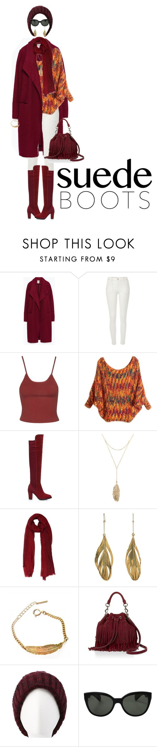 """""""Style Staple: Suede Boots"""" by ittie-kittie ❤ liked on Polyvore featuring Zara, River Island, Topshop, Rebecca Minkoff, Uma Wang, Aurélie Bidermann, Tilly Doro, Charlotte Russe, Oliver Peoples and suedeboots"""