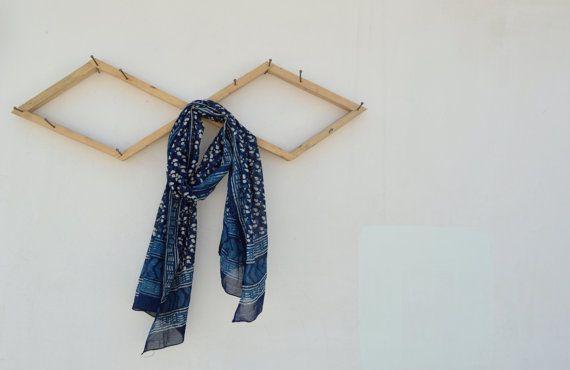 Indian Dabu Block Printed Silk Summer Scarf by SeenUnseenDesign