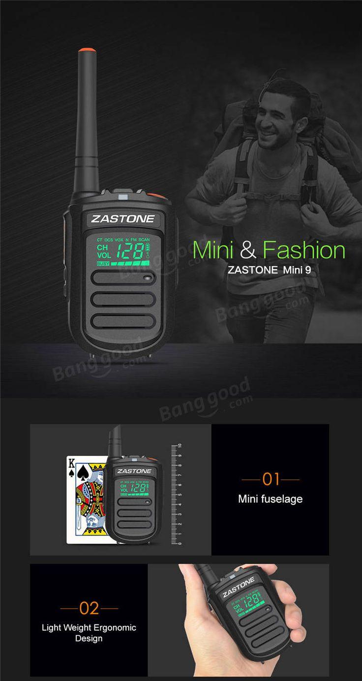 2Pcs Zastone mini9 Walkie Talkie UHF 400-470MHz Two Way Radio FM Transceiver Communicator CB Radio