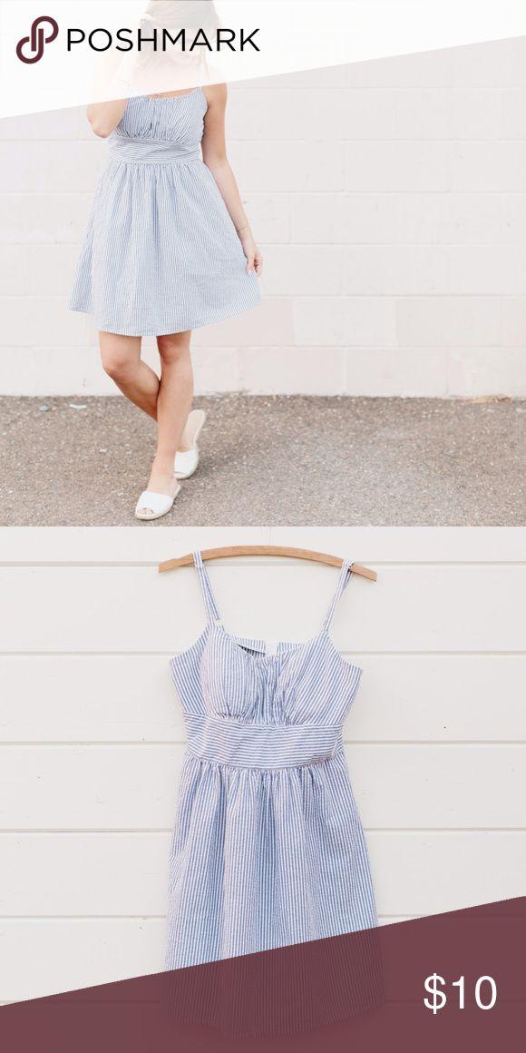 "Simple Blue and White Strip Dress Length 34"" Waist 14"" Bust 18"" B. Smart Dresses Midi"