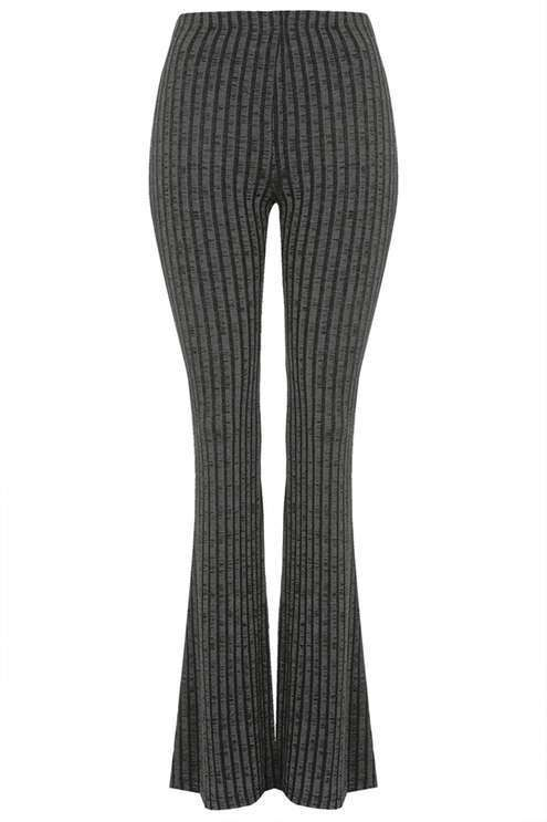 Petite jersey ribbed flare pants