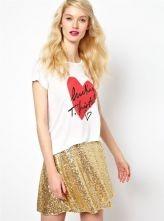 White Short Sleeve Heart Letters Print T-Shirt $20.66