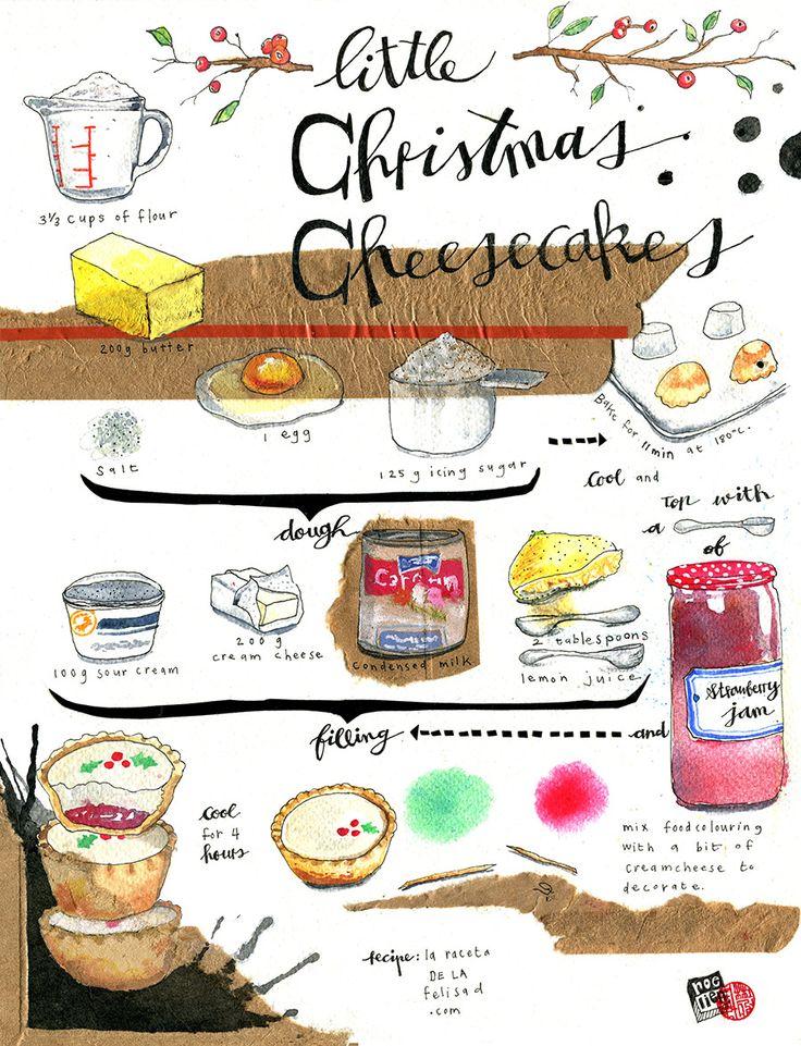 Illustrated recipe with collage, ink watercolour and guache. Print available. Recipe by La Receta de la Felicidad.