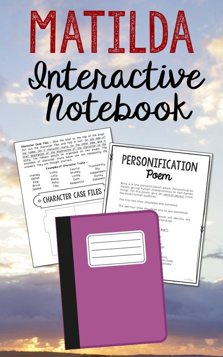 Matilda by Roald Dahl. Low Prep and Stress-Free Interactive Notebook. This novel unit includes vocabulary terms, poetry, author biography research, themes, character traits, one-sentence chapter summaries, and note taking activities. A great variety of activities to keep your students engaged! This is a complete unit, but can be added to the materials you already have on hand. I use this INSTEAD of multiple choice comprehension tests!