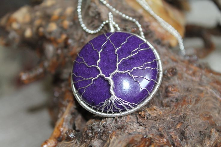 """Tree of Life Wire-Wrapped Pendant with purple mountain """"jade"""" stone and Silver plated Wire by TwistedWireCraft on Etsy"""