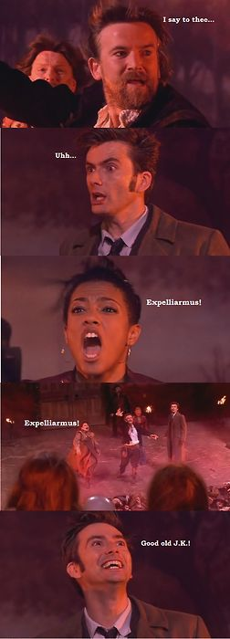 "So there is a Harry Potter reference in a Shakespeare episode of Doctor Who....I can't even deal.<------two, actually, Martha:""like Harry Potter or something?"" Doctor:""wait till you read book seven, ohhhh I cried!"""
