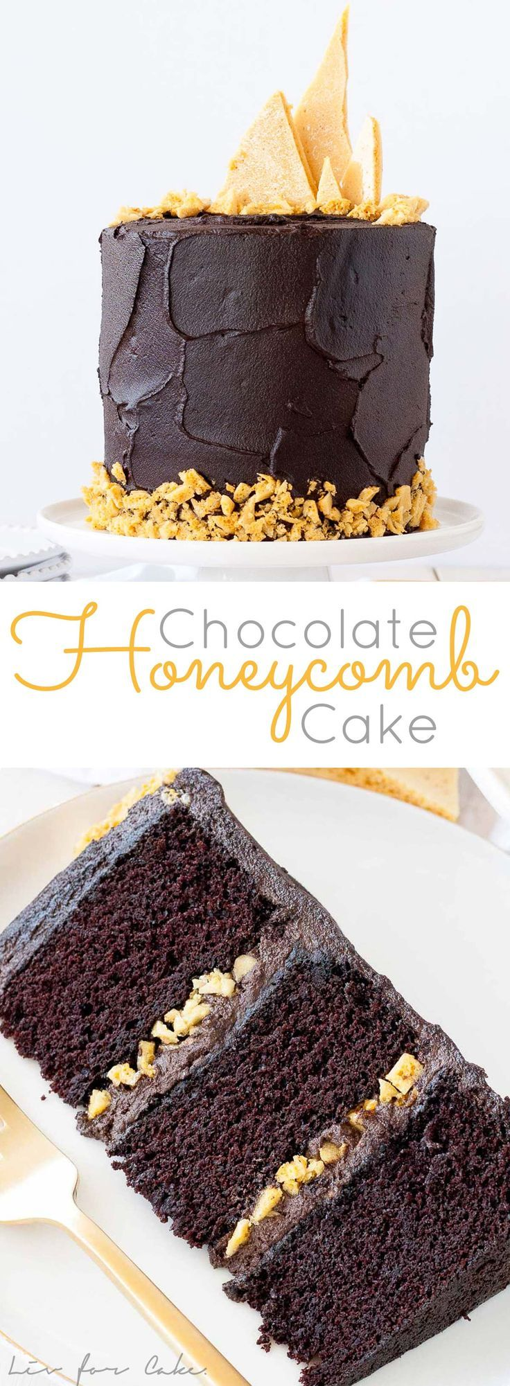 The ultimate dark chocolate cake, layered with a rich fudge frosting and homemade honeycomb.   http://livforcake.com